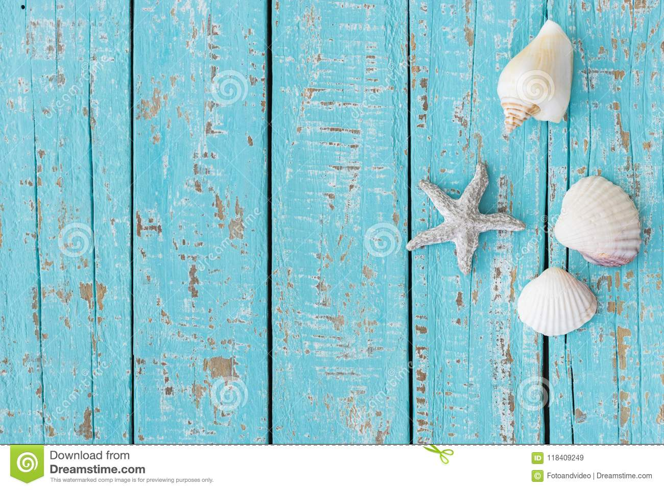 Maritime Summer Background With Sea Star And Seashells On Turquoise