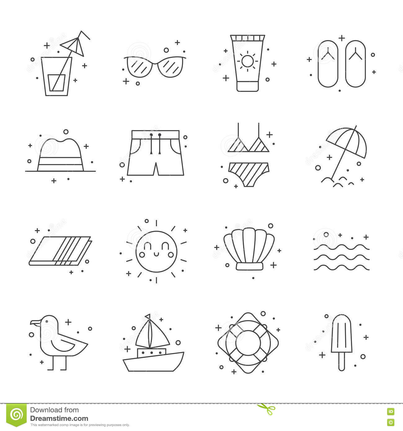 Summer Beach Icon Set Clean And Simple Outline Design Stock Vector