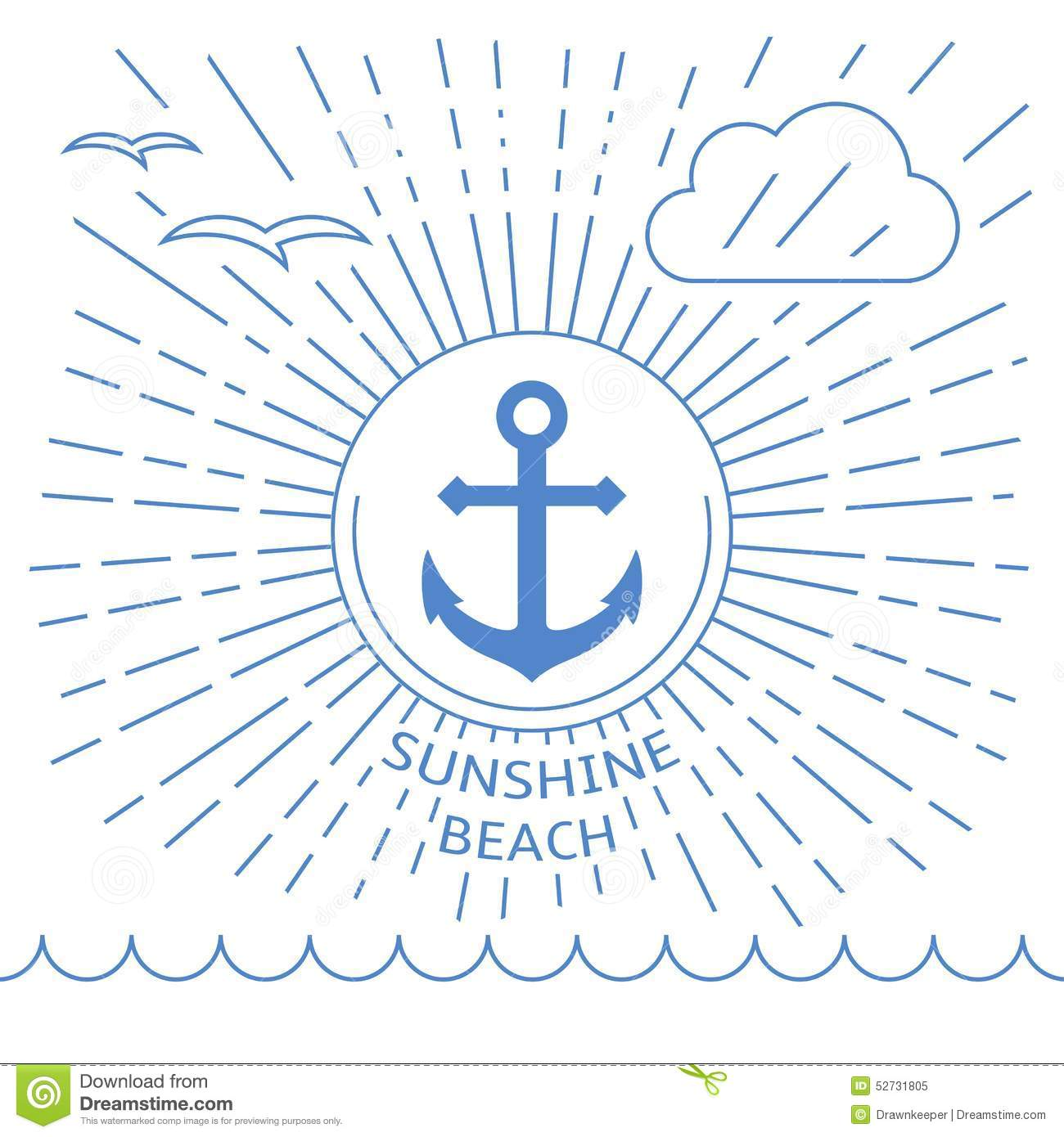 Summer Beach Illustration Made With Outline Lines Stock Vector