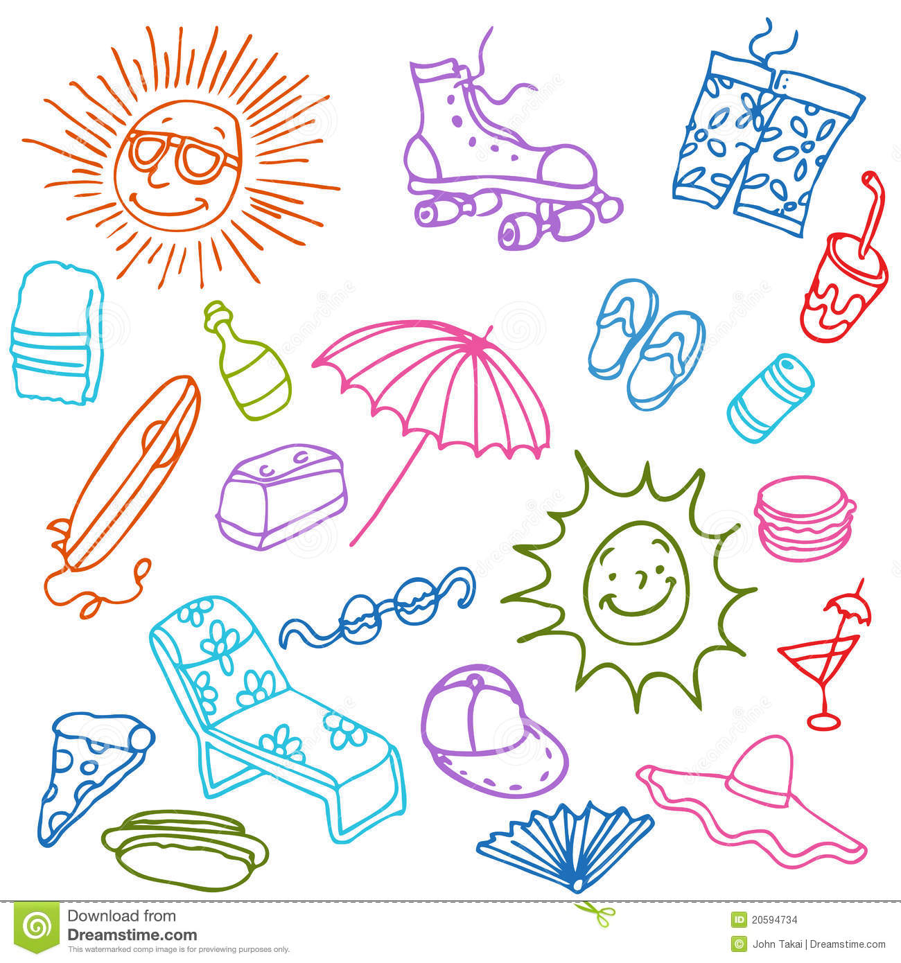 Summer Beach Items Stock Image