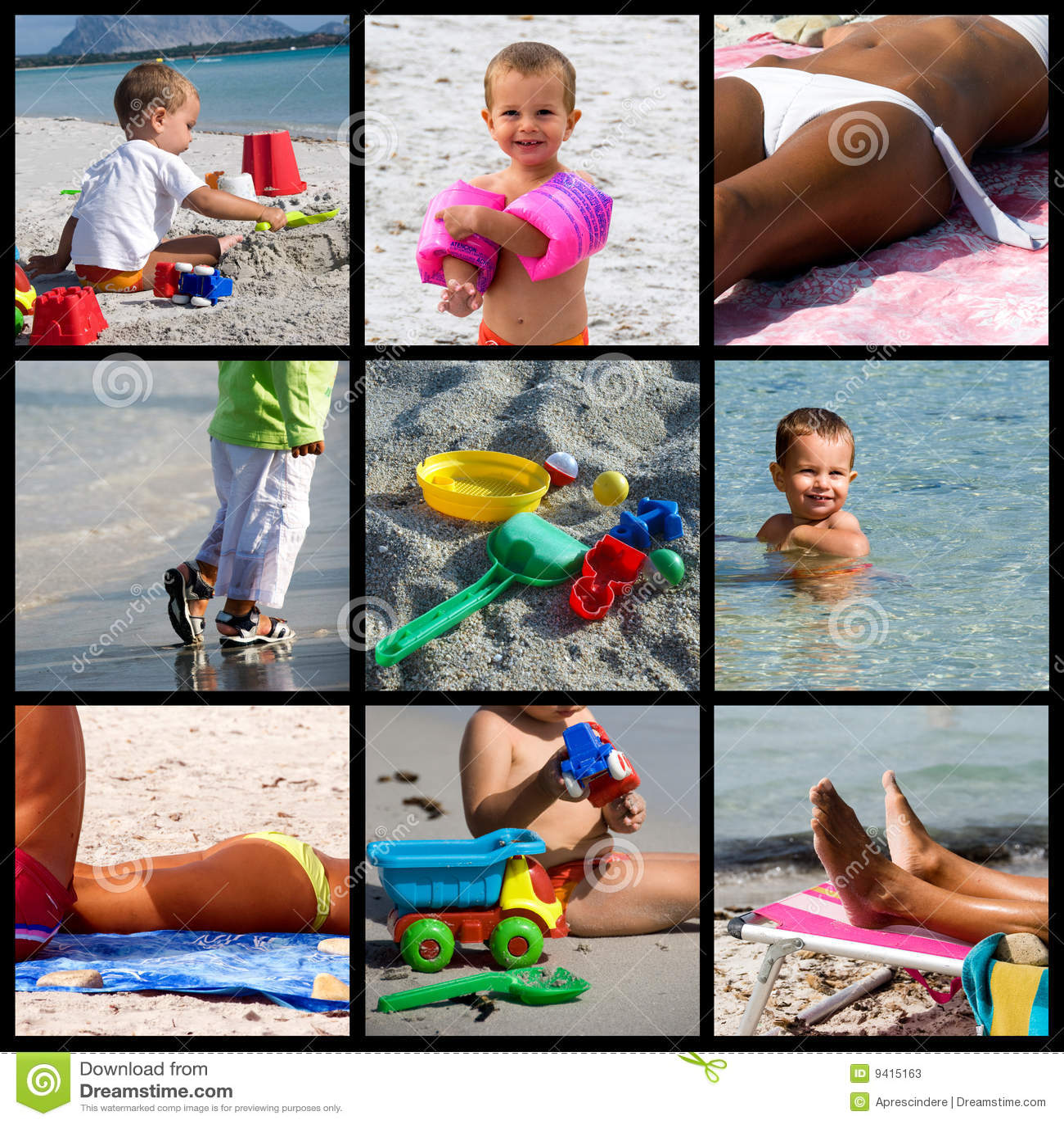 Summer beach life collage
