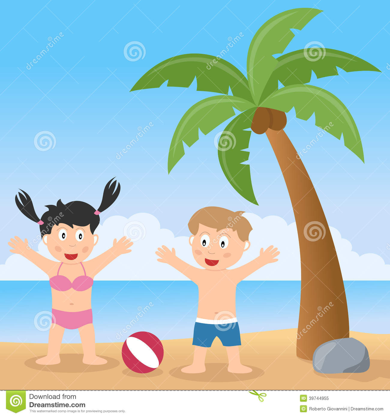 Summer Beach With Palm Tree And Kids Stock Vector Image 39744955