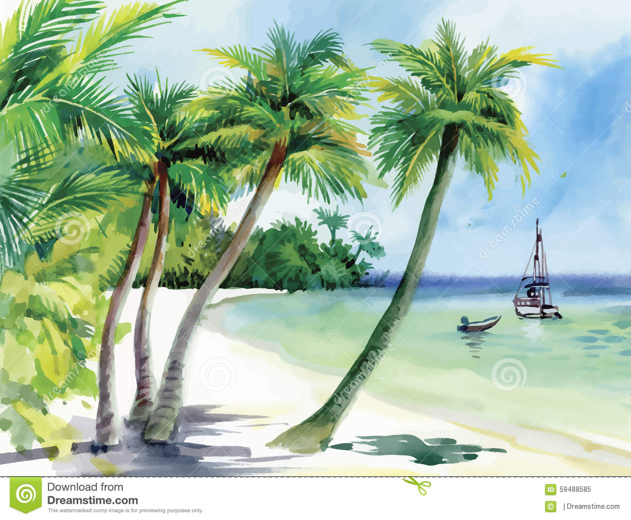 Summer Beach With Palm Trees, Seagulls And Boat On Shore ...
