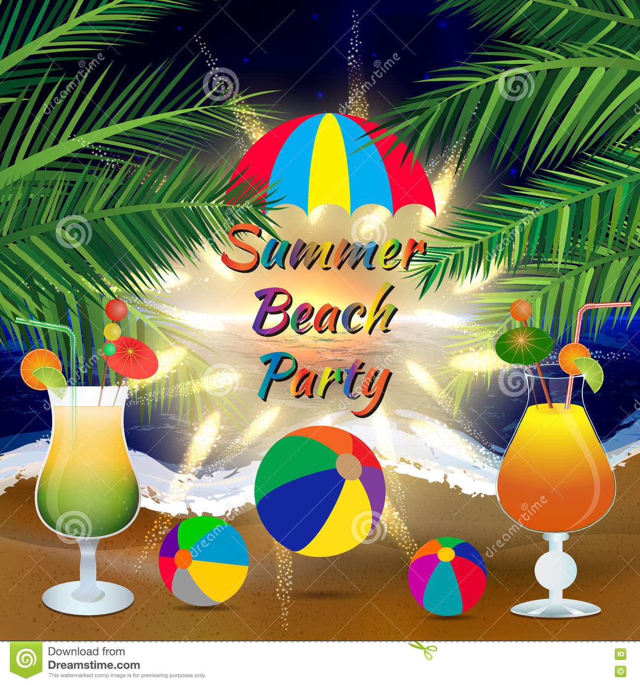 summer beach party background with palm branches beach
