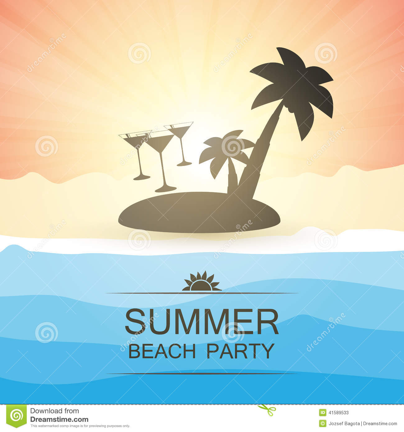 Party Island Beach: Summer Beach Party Background Stock Vector