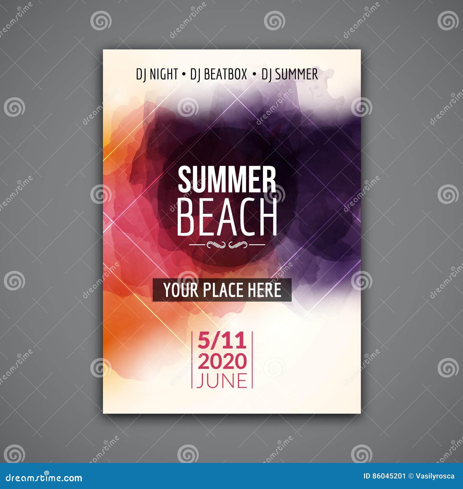Summer Beach Party Flyer Template Design Summer Party Design Layout