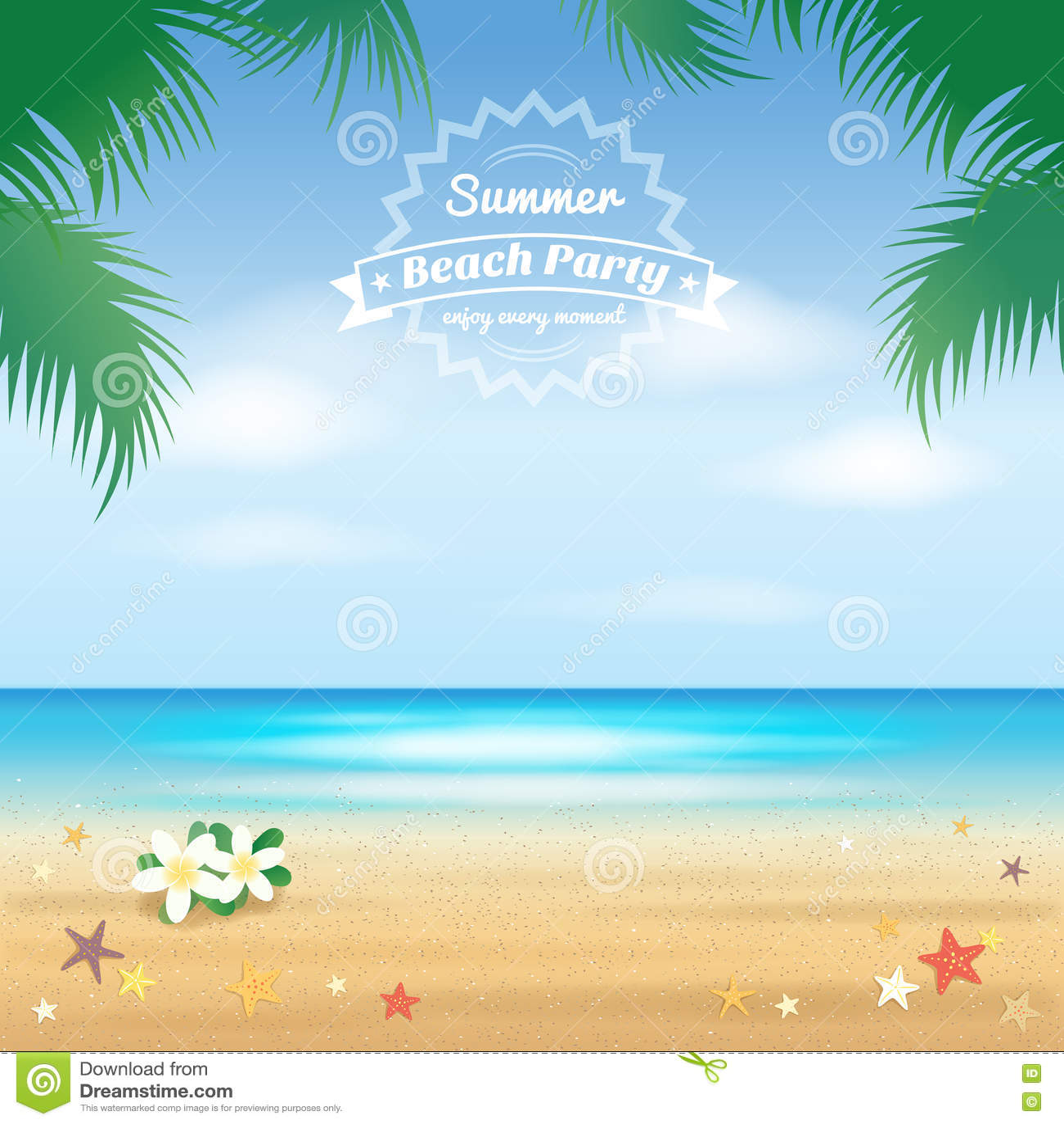 summer beach party hello summer background stock vector