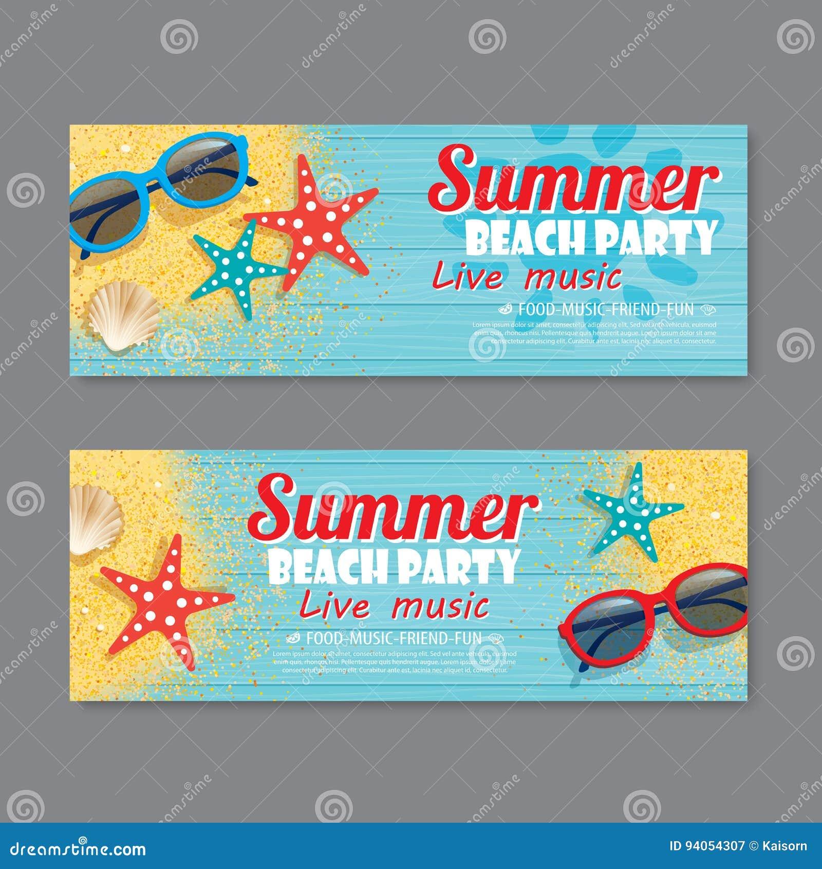 summer beach party invitation ticket background stock