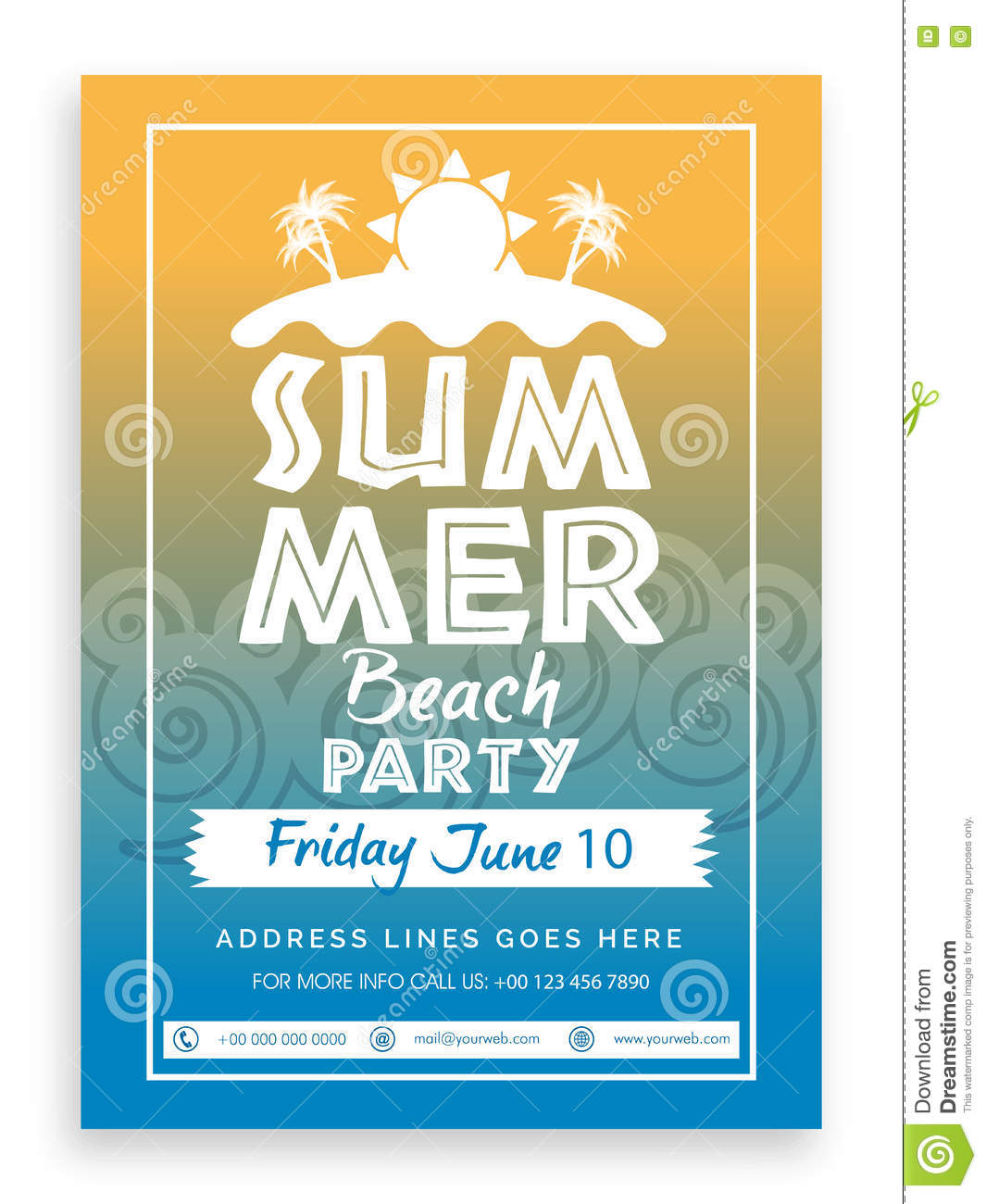 Summer Beach Party Template, Banner Or Invitation. Stock ...