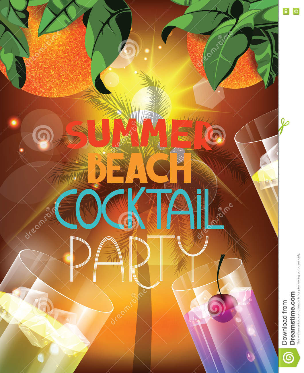 summer beach party vector illustration with glasses of cocktail and evening background stock. Black Bedroom Furniture Sets. Home Design Ideas