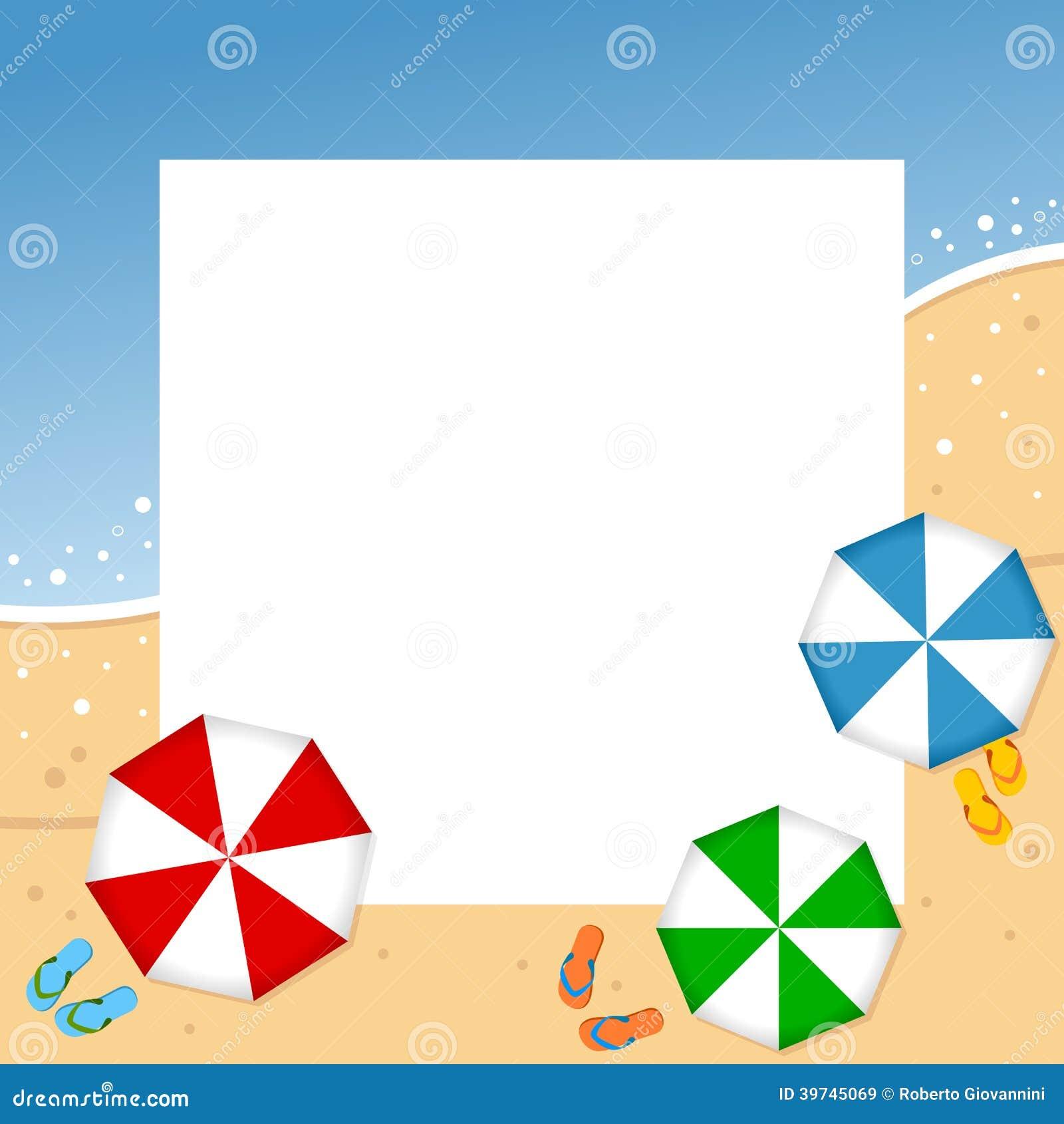 Summer Beach Photo Frame stock vector. Illustration of ...