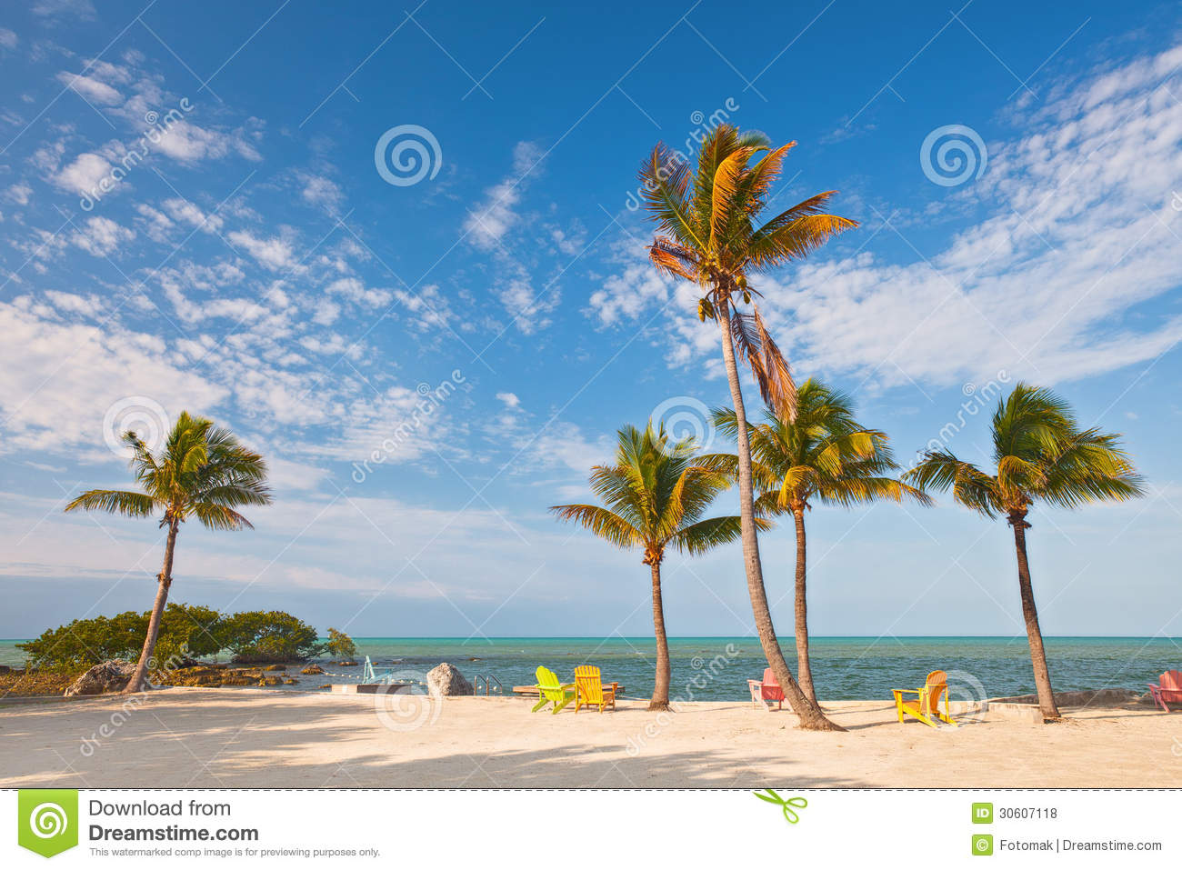 Summer Beach Scene With Palm Trees And Lounge Chairs Royalty Free Stock s Image