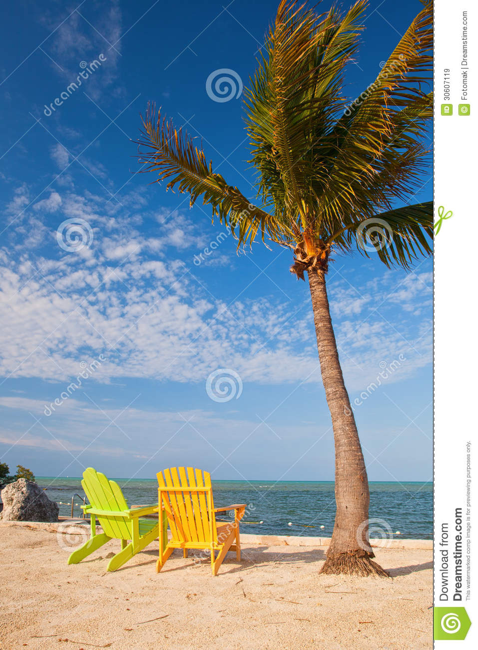 Summer Beach Scene With Palm Trees And Lounge Chairs. Florida, Outdoor.