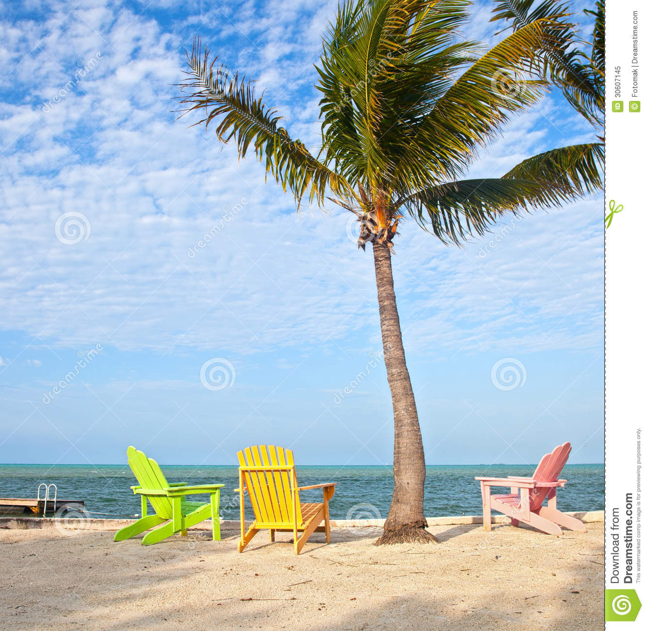 Summer Beach Scene With Palm Trees And Lounge Chairs. Panoramic, Keys.