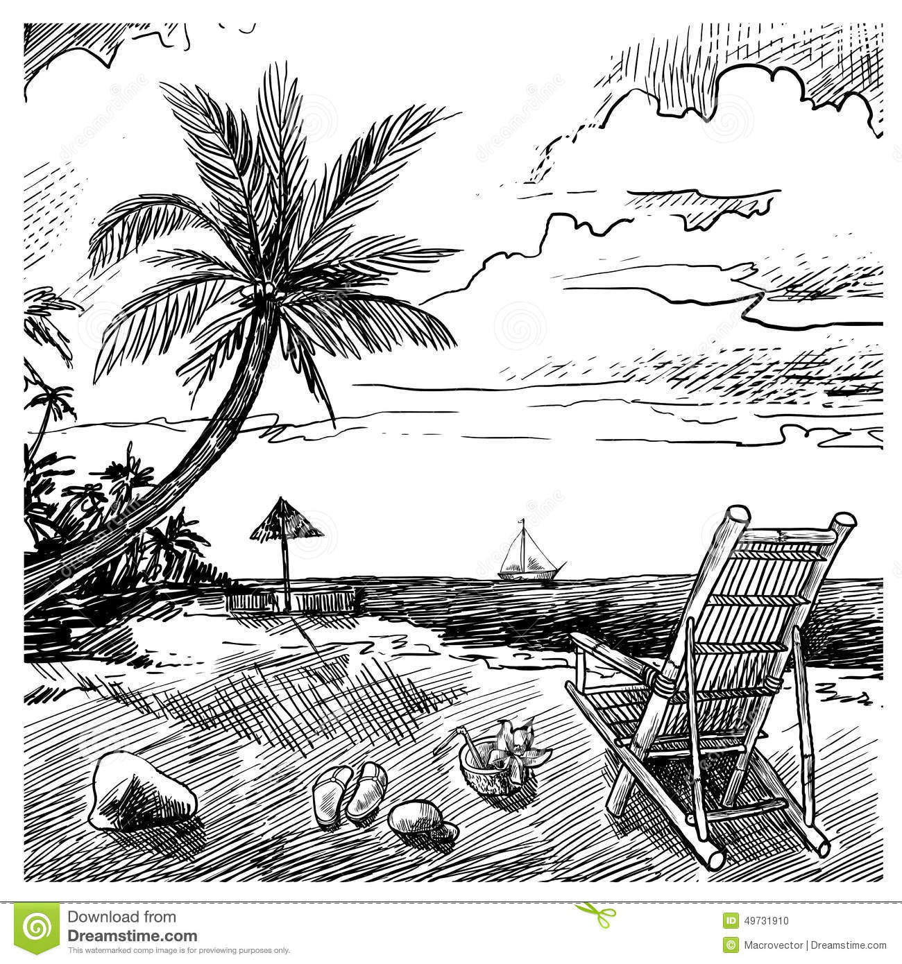 summer beach sketch stock vector  image of holiday  place