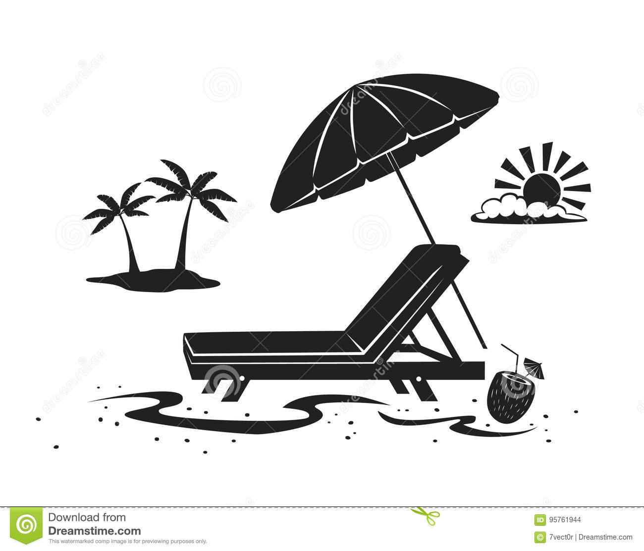 Download Summer Beach Time Vacation Silhouette Background With Umbrella Sun Lounge Chair And Palm Tree