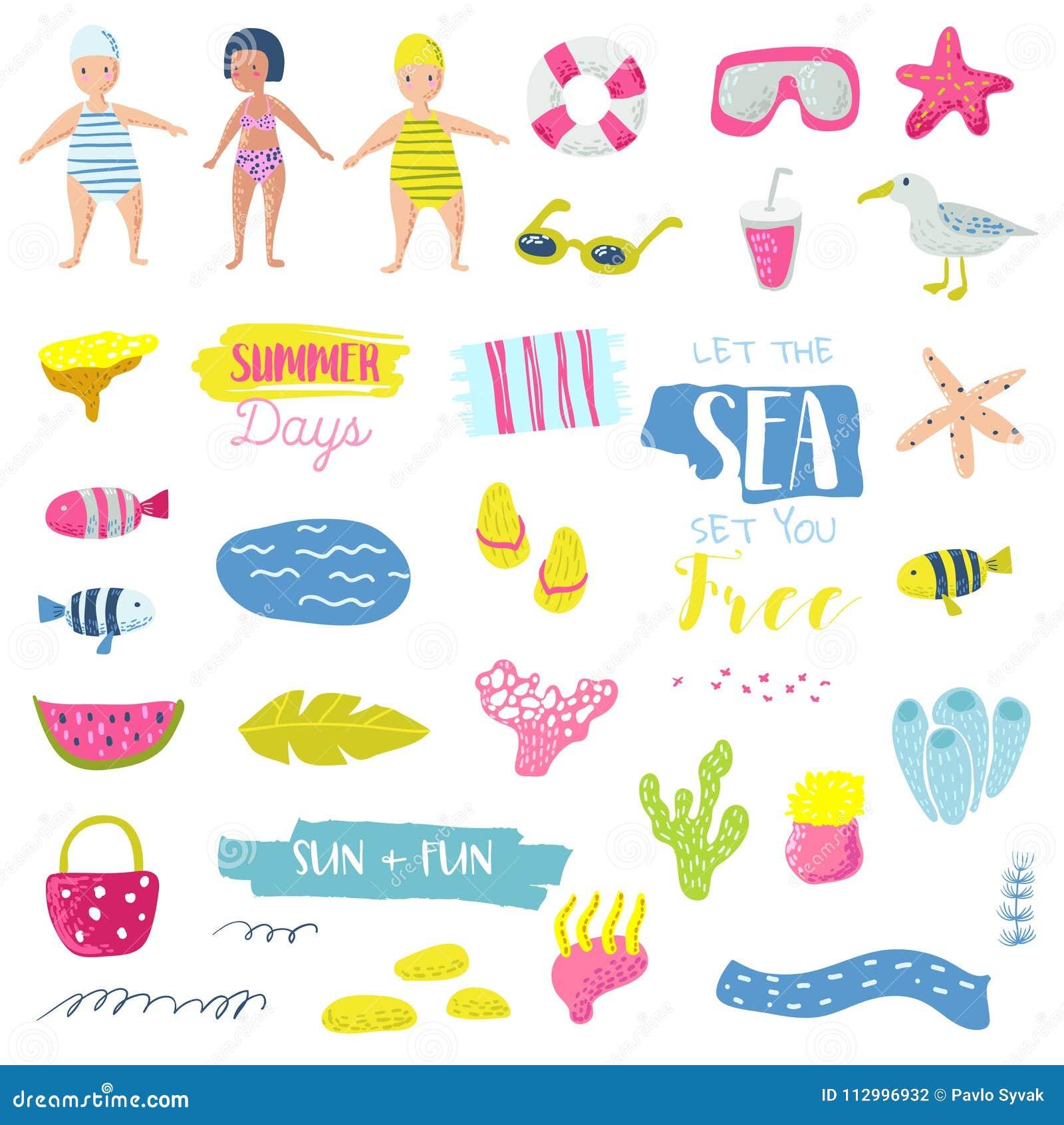 Summer Beach Vacation Childish Elements Set With Kids, Fish