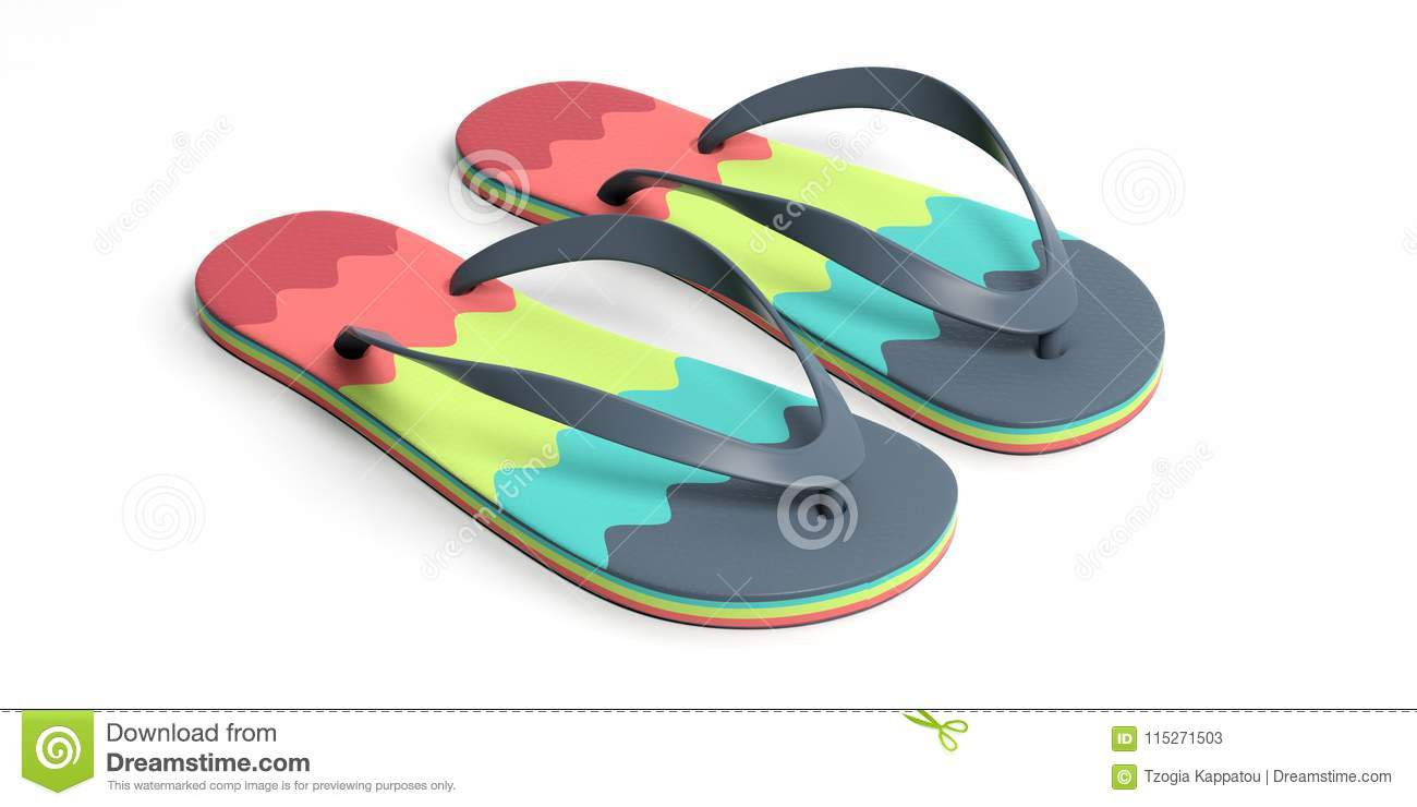 7d03a074c4ac Summer beach holidays. Colorful flip flops isolated on white background. 3d  illustration