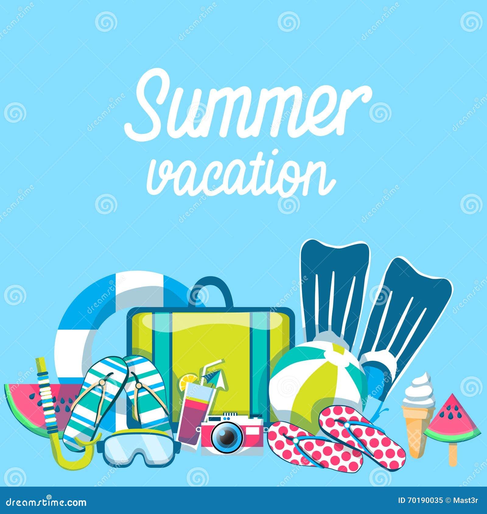 Summer Beach Vacation Set Sand Tropical Banner Stock