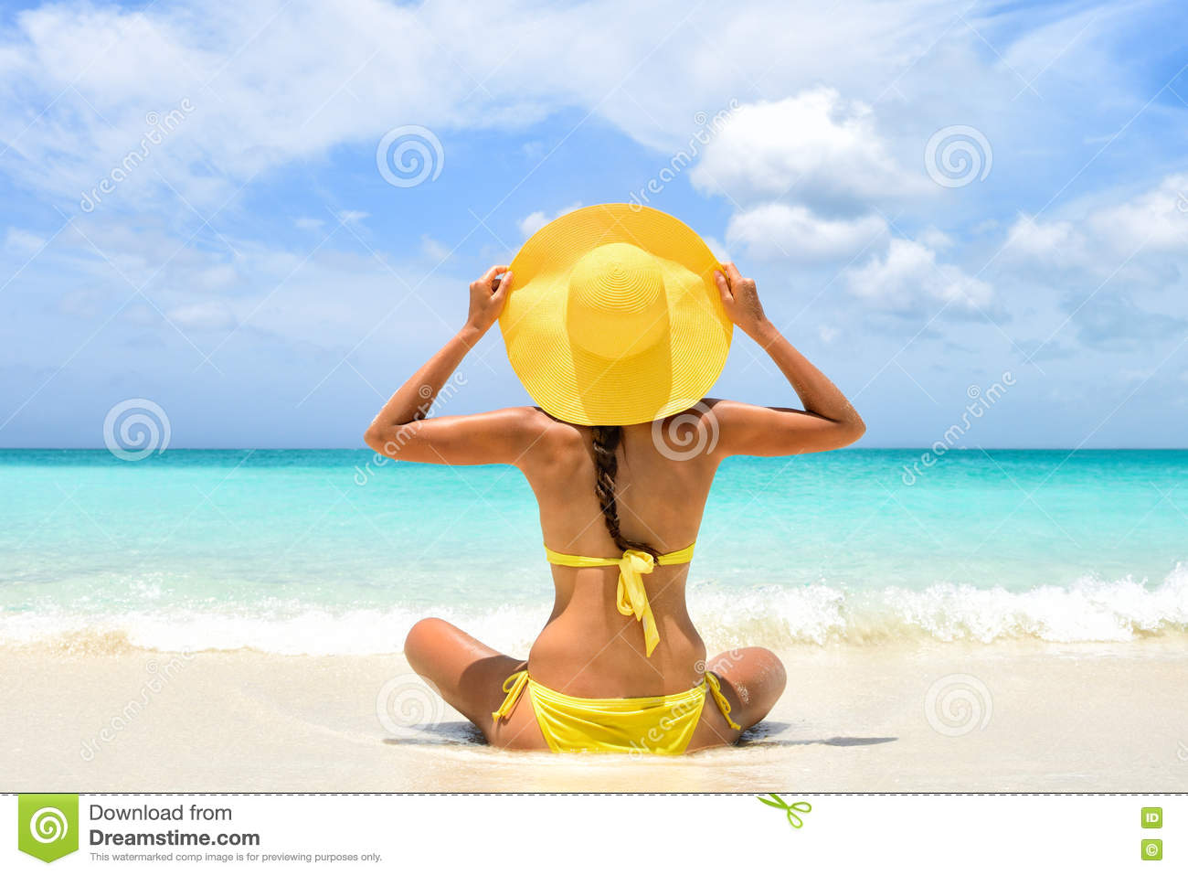 Download Summer Beach Vacation Woman Enjoying Sun Holiday Stock Photo - Image of enjoying, people: 72044964