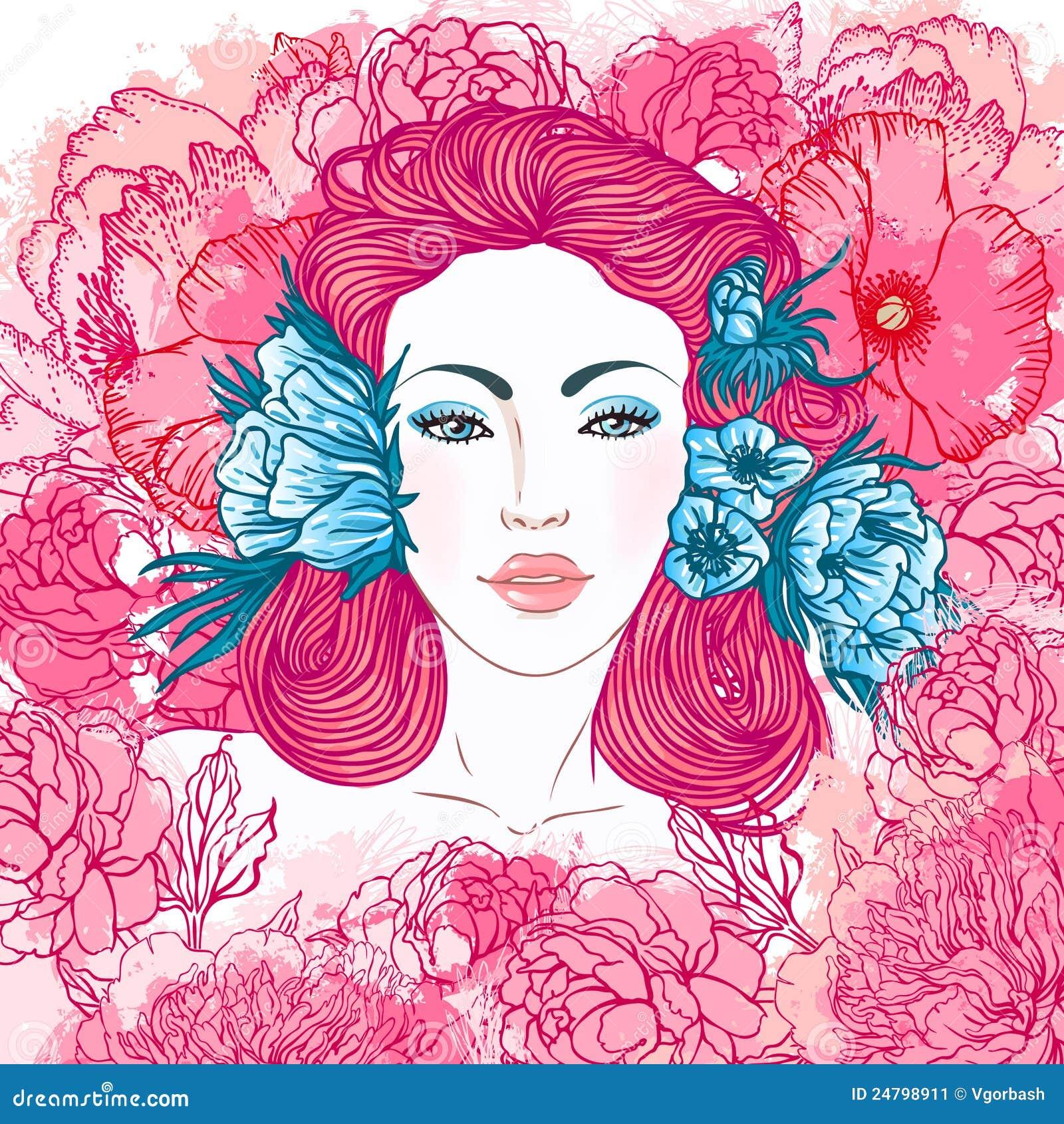 Summer beauty girl face