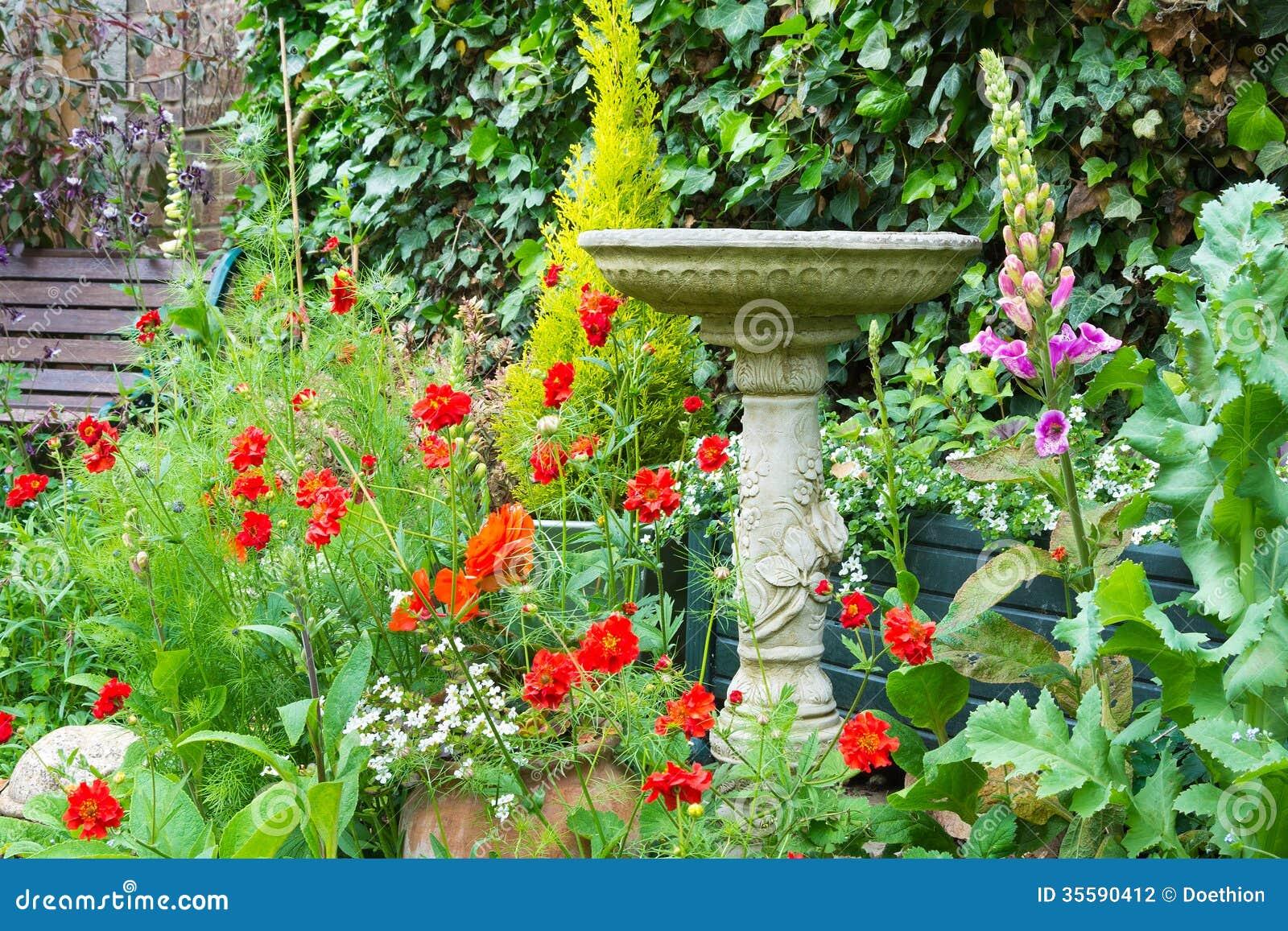 Bird Bath In Garden Clip Art