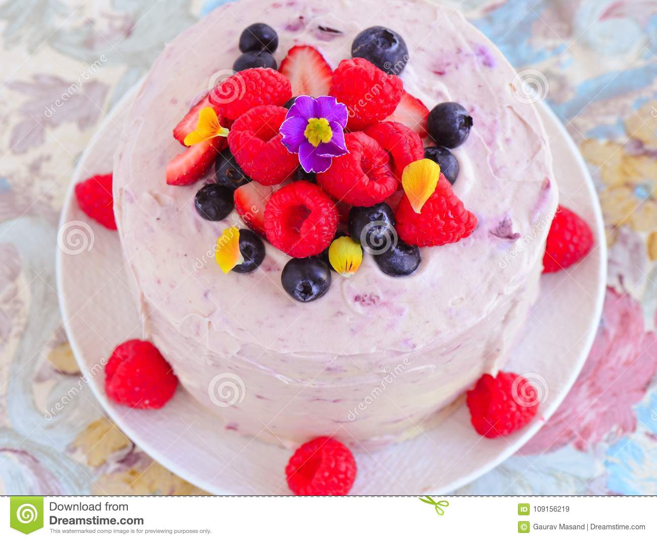 Summer Berry Fruit Cake For Special Occasions Stock Image Image Of