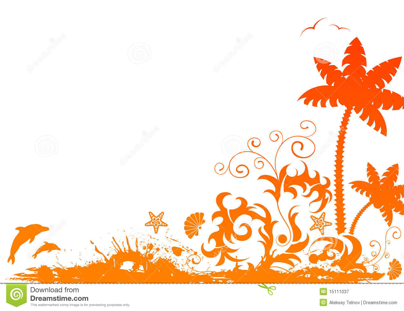 Grunge summer border with palm, starfish, dolphin, isolated on white ...