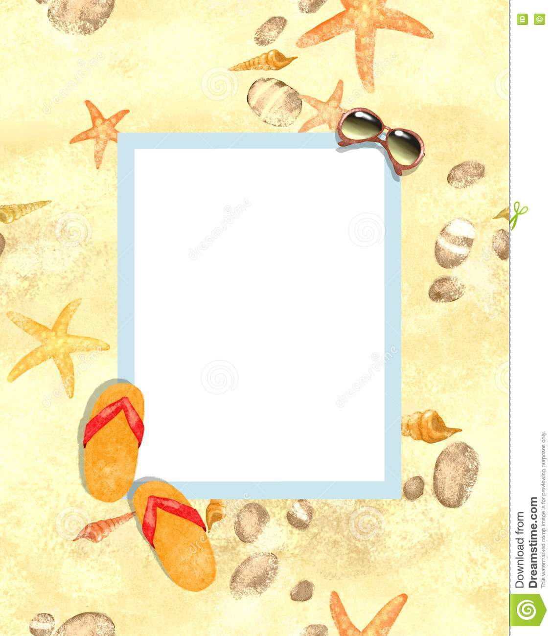 flops on a sand border frame on seamless background space for text