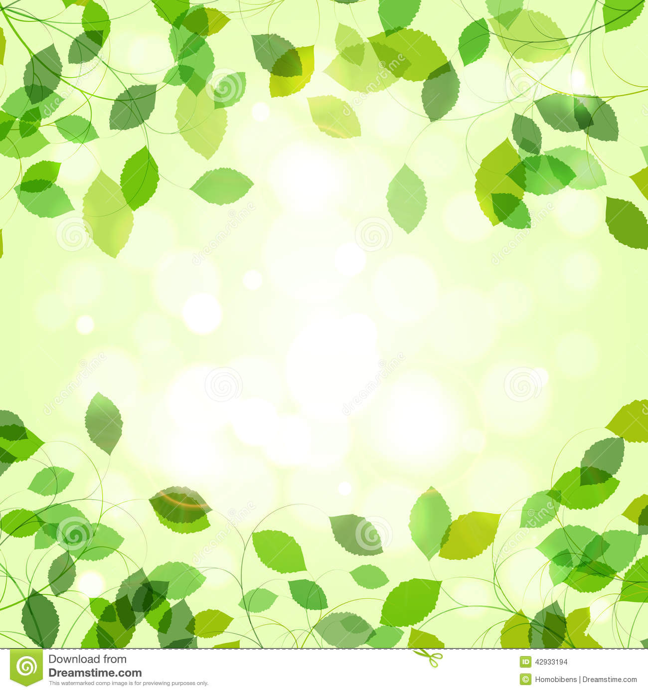 Summer branches with fresh green leaves
