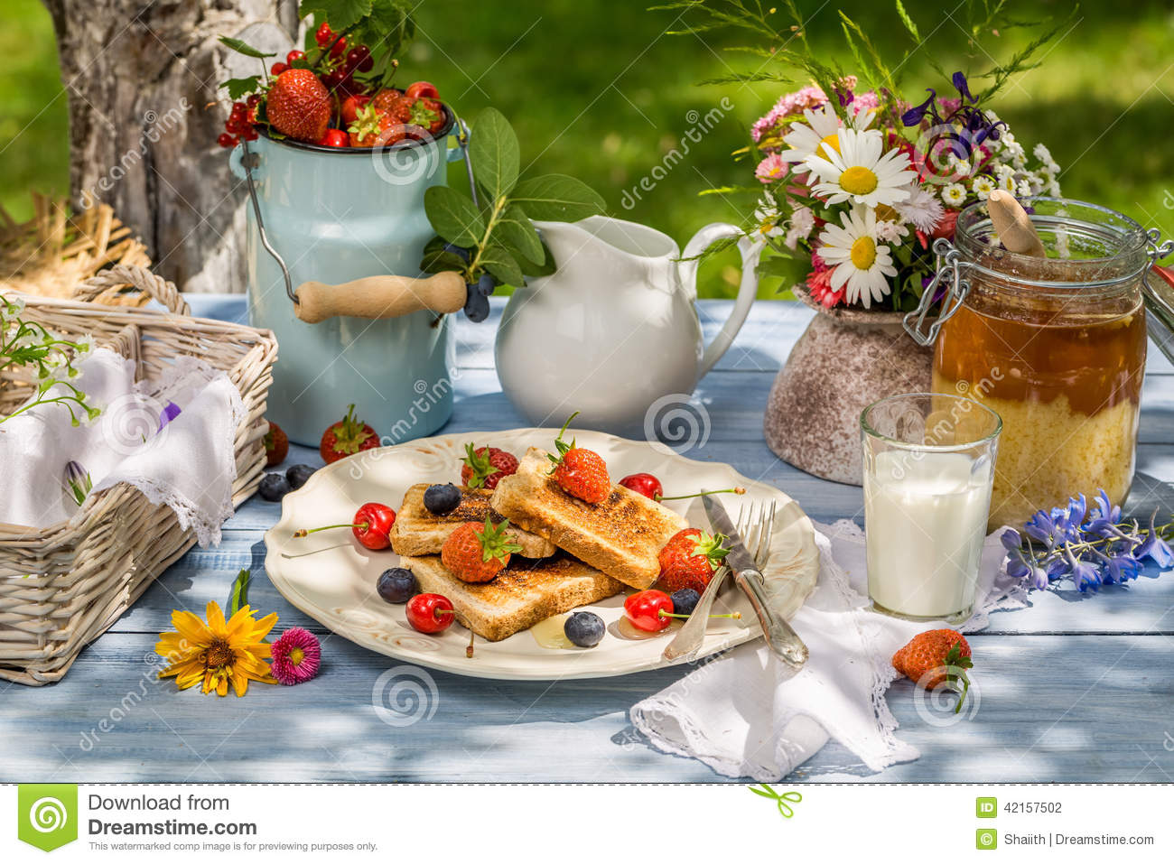 Summer breakfast in the garden stock photo image 42157502 for Au jardin wedding