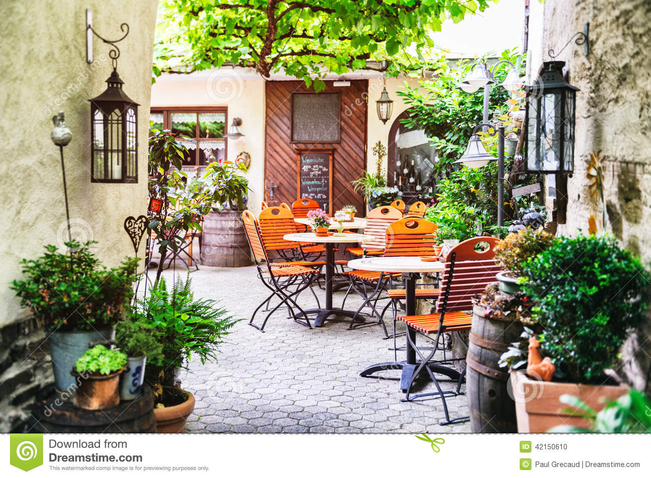 Summer cafe terrace