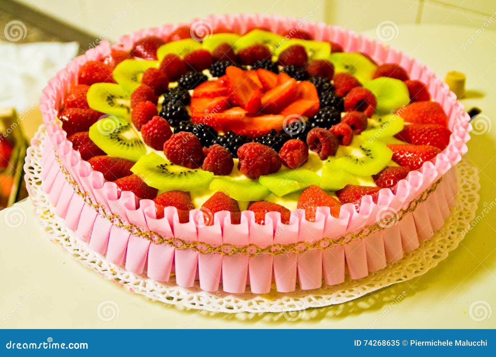 Summer Cake With Fresh Fruit Stock Photo Image 74268635