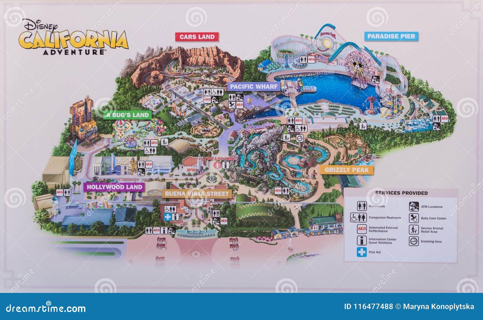 Map Of Disneyland, Anaheim, Los Angeles. Summer Holidays In