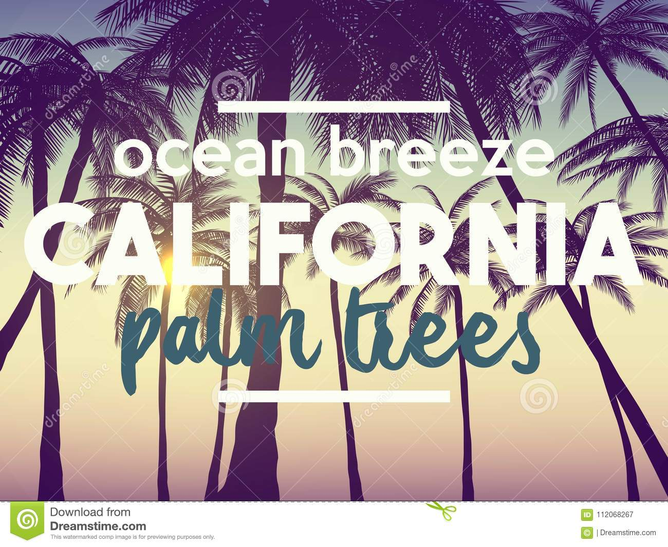 Summer California Tumblr Backgrounds Set With Palms Sky And Sunset Placard Poster Flyer Invitation Card