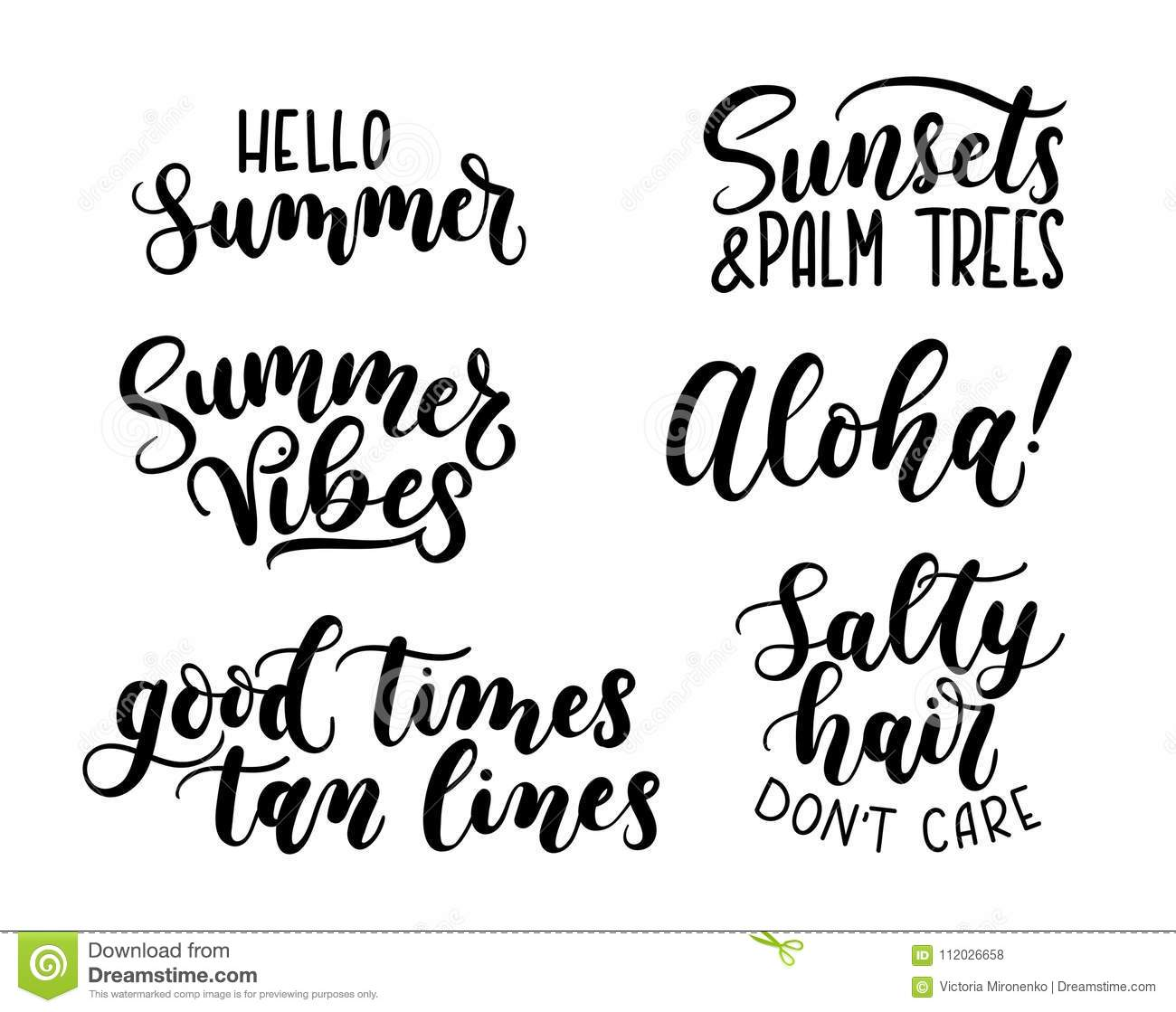 Summer Calligraphy Set.Big Set Of Summer Quotes Isolated