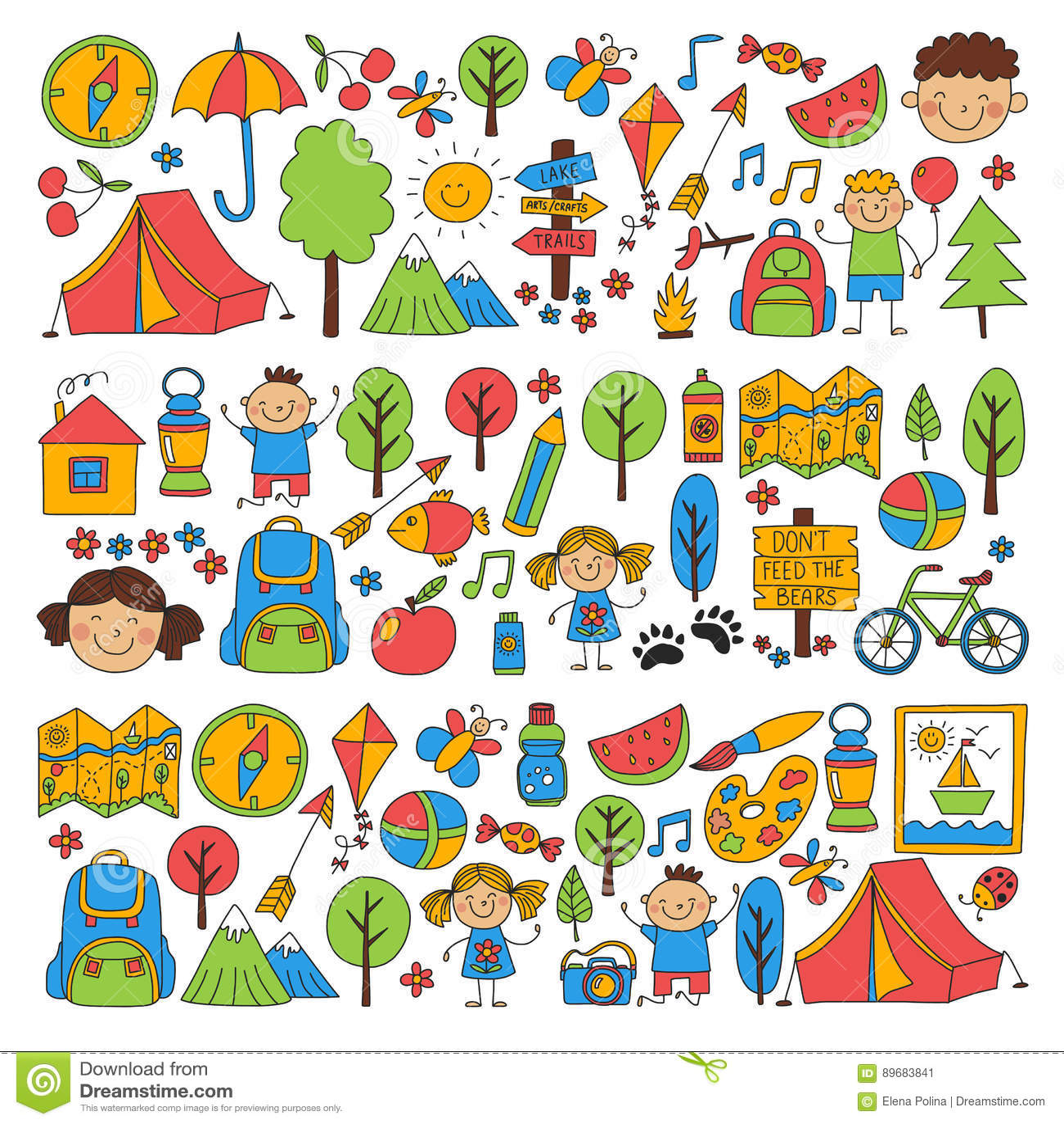 Summer camp Children, kids camping Children plays, hiking, singing, fishing, walking, drawing, having fun After school