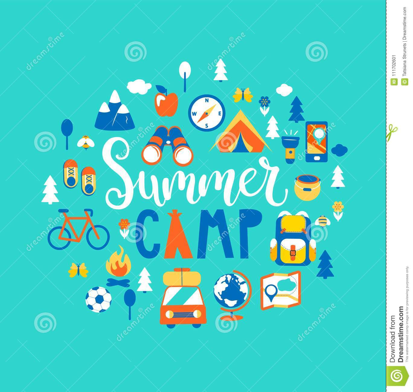 Summer Camp With A Lot Of Camping Equipment. Stock Vector ...