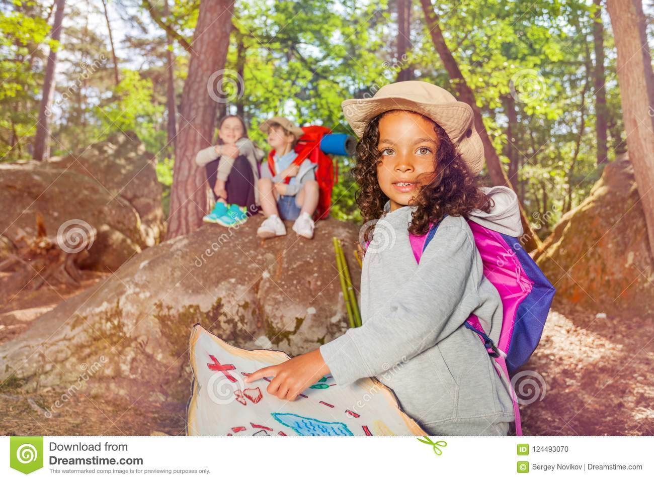 Summer Camp Orientation Kids Activities In Forest Stock Photo