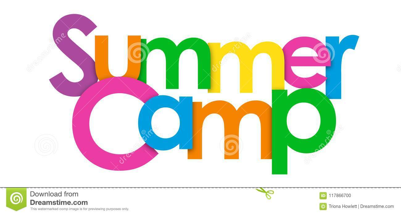 SUMMER CAMP overlapping letters banner