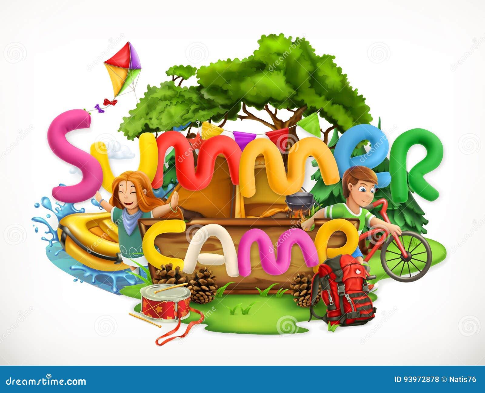Summer camp. Summer holiday vector illustration