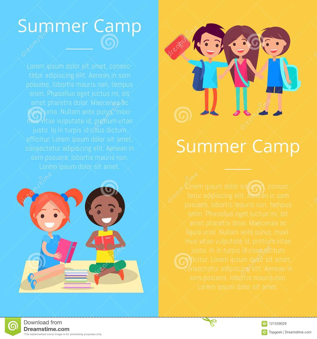 Summer Camp Template Poster With Happy Children Stock Vector