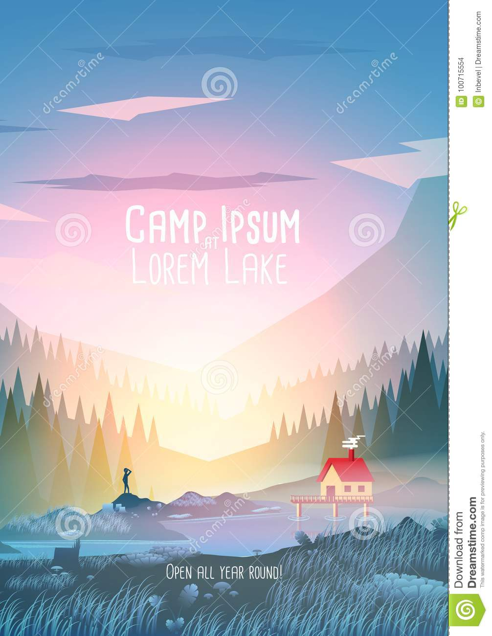 Summer Camp Vacation Poster with Mountain Lake - Vector Illustration