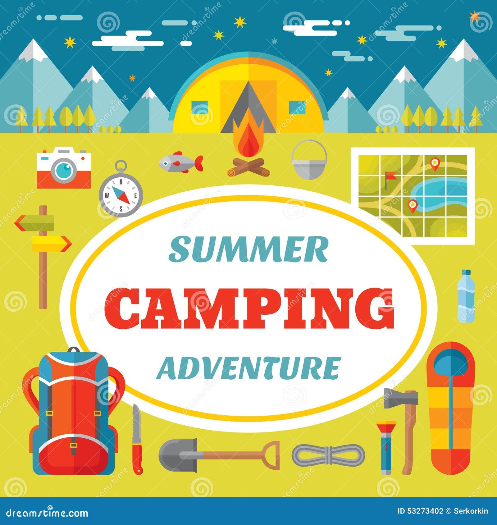 Summer Camping Adventure Creative Vector Banner In Flat