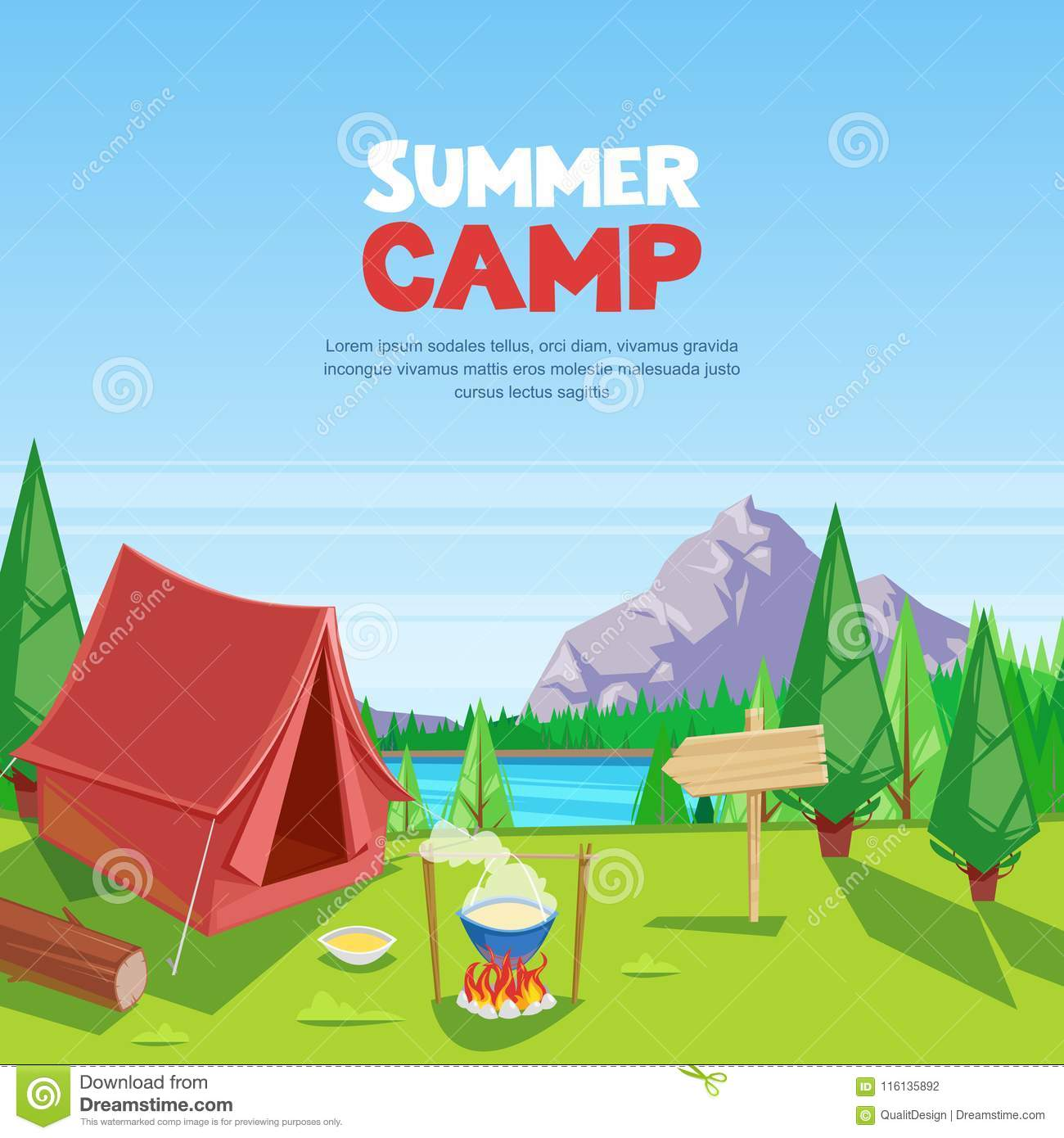 Summer camping vector cartoon illustration. Adventures, travel and eco tourism concept. Touristic camp tent on meadow.