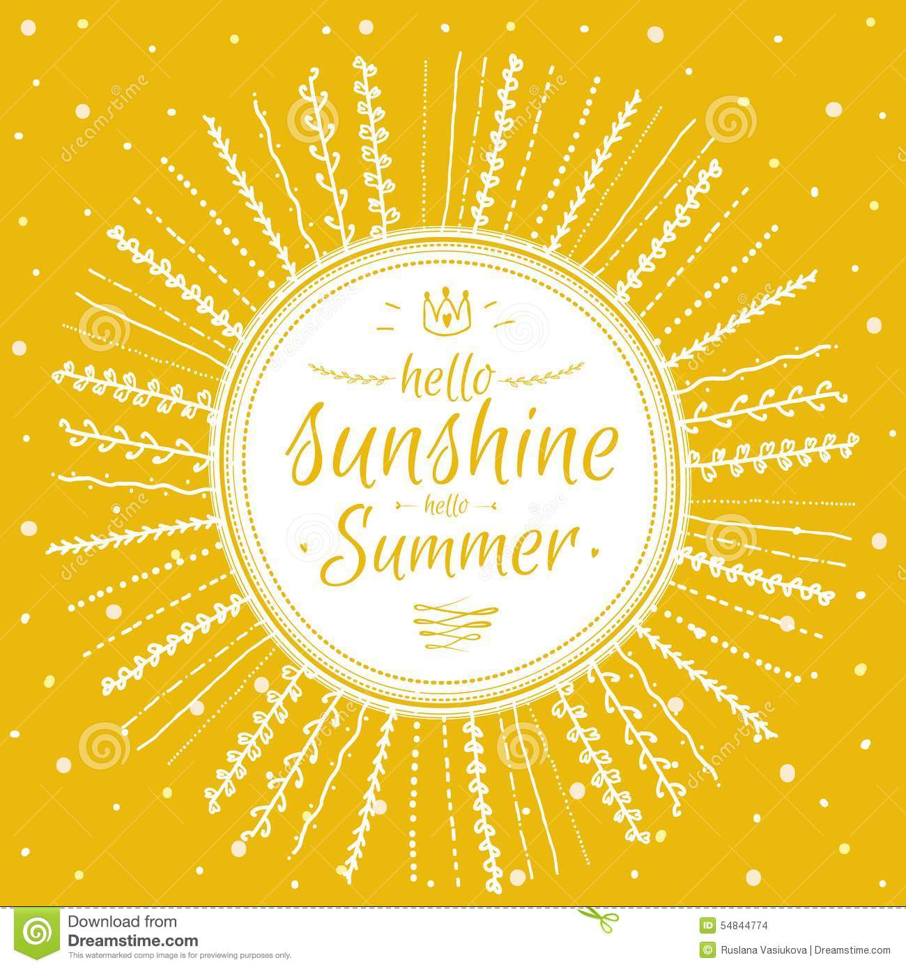 Summer Card With Cute Sun And Motivational Stock Vector - Image: 54844774 Hello Sunshine Quotes