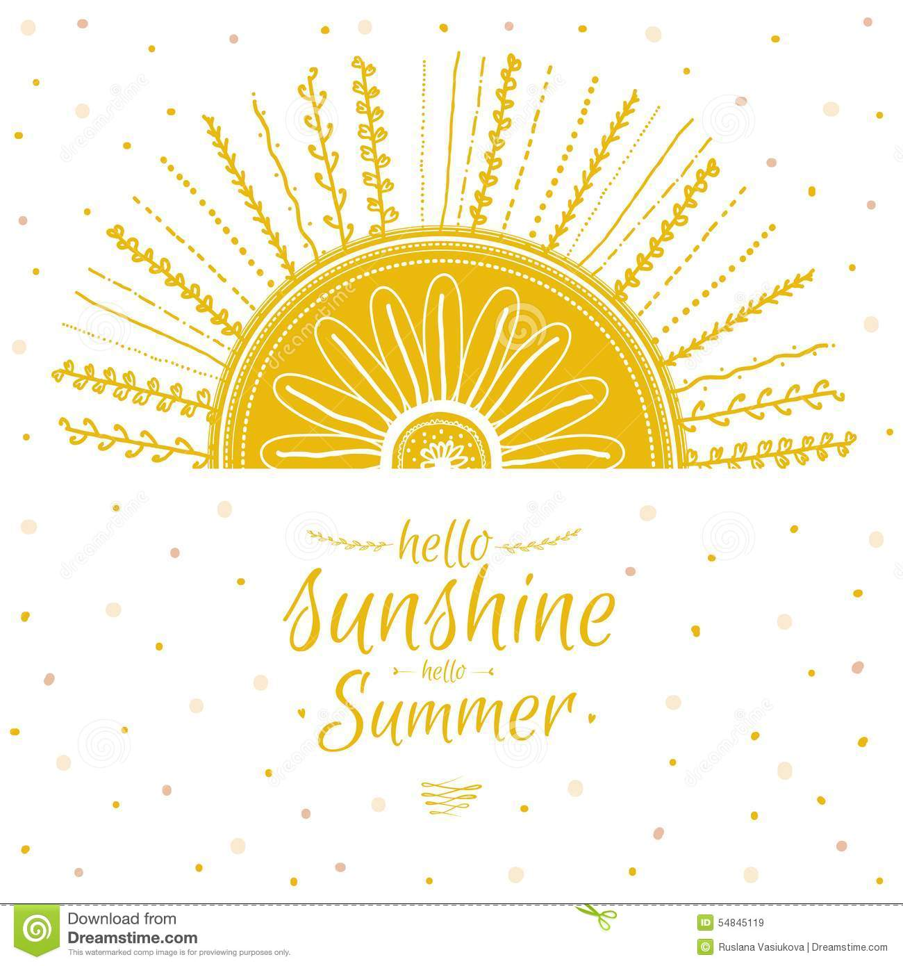 Summer Card With Cute Sun And Motivational Stock Vector ...