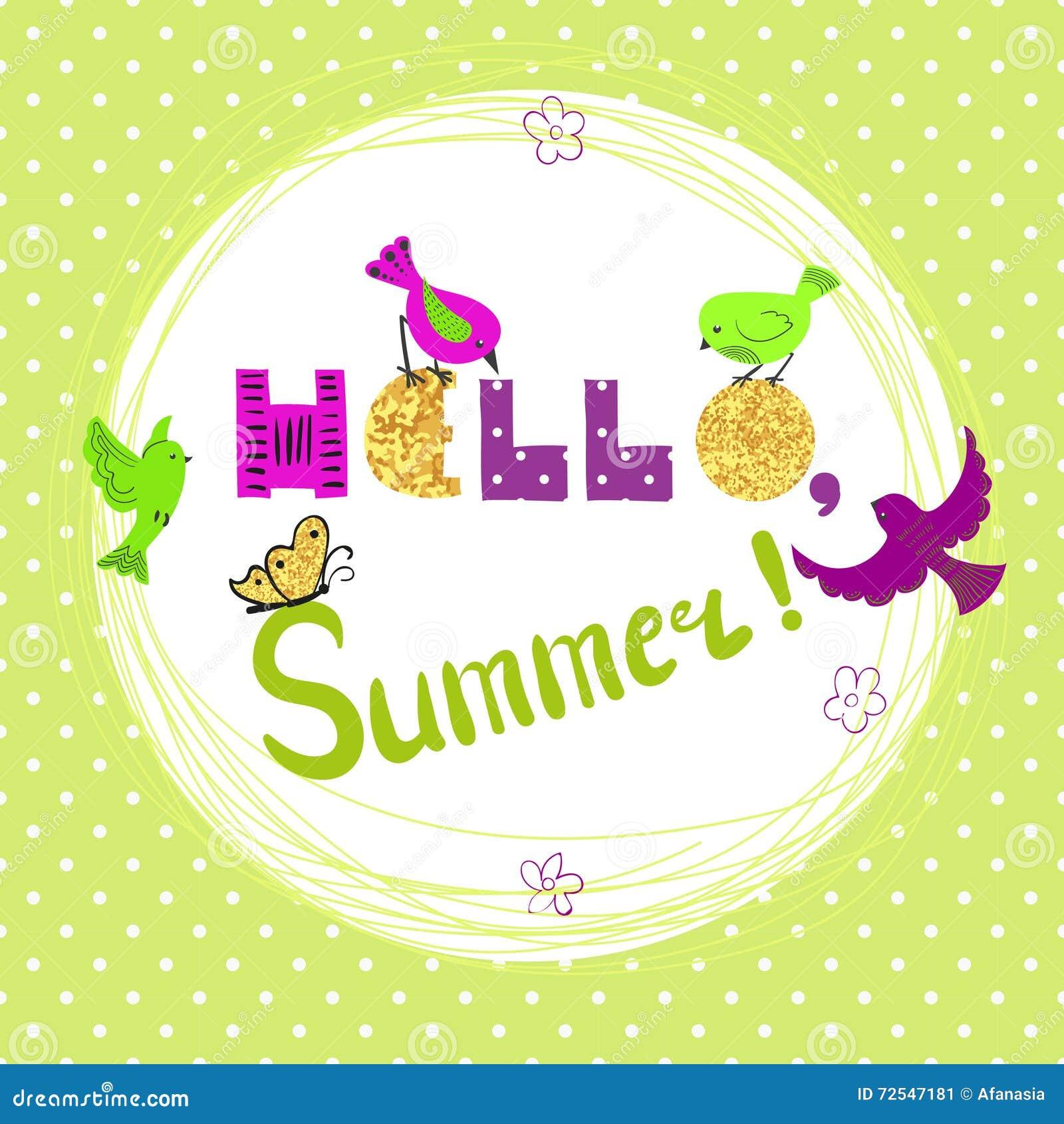 Summer Card Design With Cute Cartoon Birds. Stock Vector - Image: 72547181