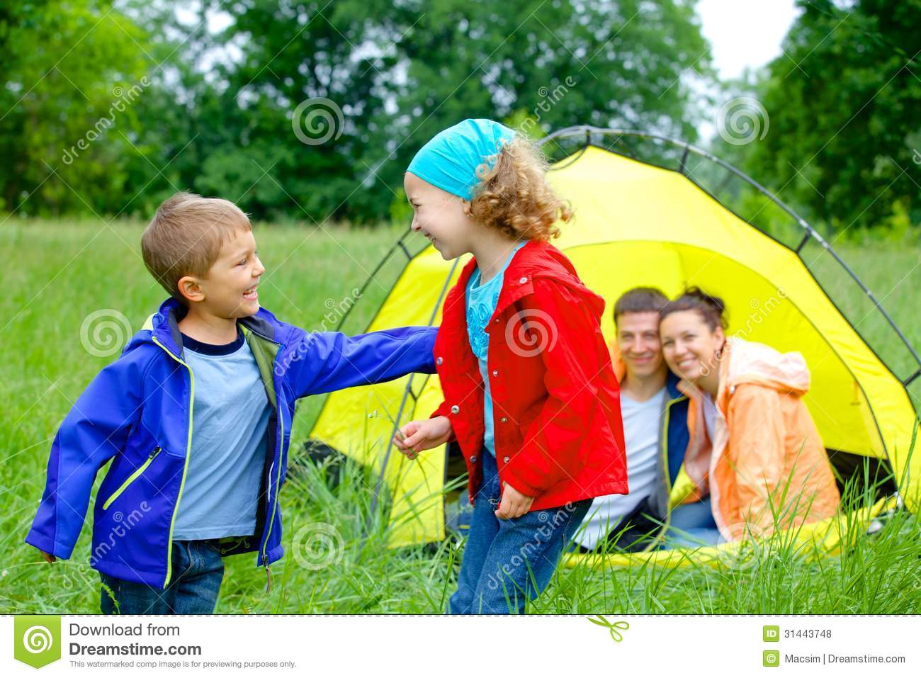 Summer Child Camping In Tent Royalty Free Stock Photos Image 31443748