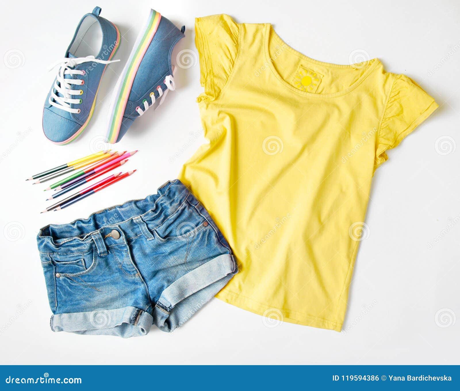 2b1da952b85b Summer Child`s Clothing Set On White. Stock Photo - Image of trendy ...